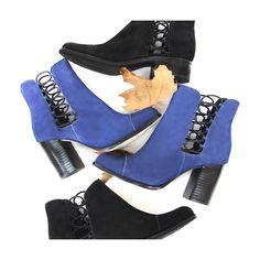 Out cut boots | short boots | azul | preta | Guilhermina Shoes