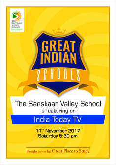 It's a matter of great pride to announce that The Sanskaar Valley School has been selected to be among the top 30 schools in the country to be featured on India Today TV under a special 10-episode TV series 'Great Indian Schools' for imparting education with happiness index as its core value. The school will be featured on 11th November 2017 at 5:30 pm. Don't forget to watch the episode!  #TSVS #SopaanStudents #SVN #ShikharStudents #PranganStudents #AadharStudents Episodes Tv Series, Core Values, School S, Pride, November, Forget, Bring It On, Happiness, Indian