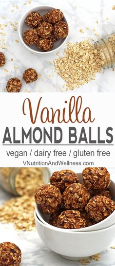These Vanilla Almond Balls are a perfect snack for mid-day cravings. They contain no processed sugars so they're much healthier than store-bought bars! Vegan Sweets, Vegan Desserts, Vegan Food, Gluten Free Recipes, Vegetarian Recipes, Whole Food Recipes, Snack Recipes, Fudge, Healthy Treats