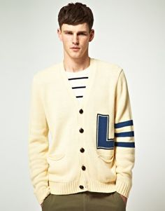 Image 1 of ASOS Cardigan with Intarsia Letter XL