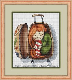 Are you in the mood to travel? Do not forget your beloved ones! Our funny cross stitch pattern will be a lovely decoration and a great gift. #funnypics #crossstitch #crossstitching #travel #suitcase #inspiration #crossstitchpattern