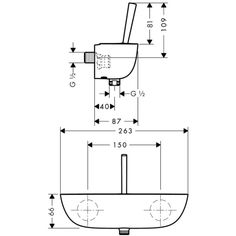 Dimensiones de Grifo de ducha Puravida - Hasngrohe http://edenhogar.com/es/griferia/hansgrohe-puravida-grifo-mezclador-ducha-visto-15672000.html