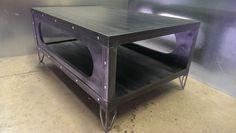 table industrial furniture coffee table gun metal  by IndustEvo