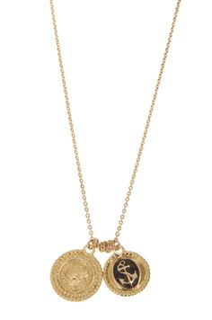 14K Gold Filled statement necklace with two coins pendant, 14K Gold plated French woman and anchor inlaid with enamel pendant