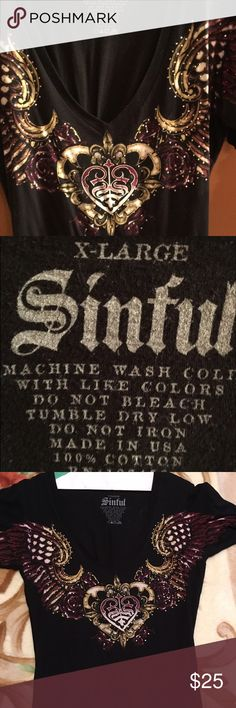 Sinful V-Neck T-Shirt, XL Sinful fitted tshirt, v-neck, great condition, with lace up details in front and back Sinful Tops Tees - Short Sleeve