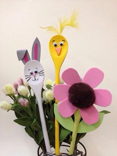 Wooden spoons decorated for easter crafts
