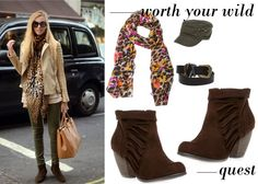bright print scarf+ ankle boot w ruffle detail