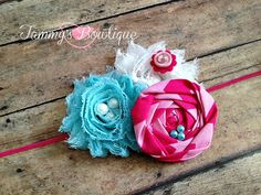 Pink Aqua and White Headband Turquoise Headband by TammysBowtique, $6.25