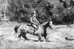 Meisje te paard te water. Heidepoel in het Lunterse Buurtbos. Juli 2017