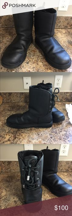Black leather UGG boots Like new condition black leather Ugg boots . Tie string in the back , waterproof and so warm ! Worn only a handful of times . UGG Shoes Winter & Rain Boots