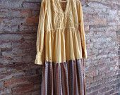 eco plus size in mustard and vintage brown print  $60.00  rebirthrecycling.etsy.com