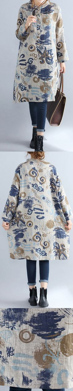 floral-pure-cotton-dress-casual-dress-Elegant-stand-collar-long-sleeve-cotton-dress5