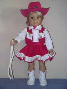 "Handmade Doll Clothes fit 18"" American Girl Dolls (PINK COWGIRL OUTFIT)"