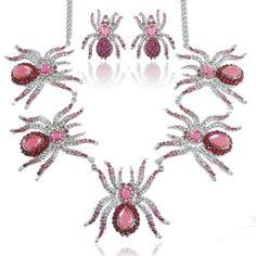 EVER FAITH Halloween Spider Necklace Earrings Set Pink Austrian Crystals  http://www.amazon.com/dp/B00BHBH1XA/ref=cm_sw_r_pi_dp_CejUvb0Z57TCG