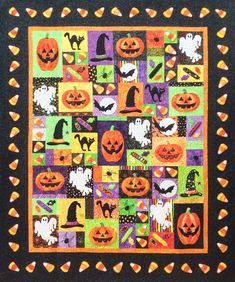 Halloween Fun quilt at Island Batik.  Embroidered quilt design by Lunch Box Quilts.