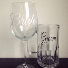 Bride and groom wedding glass set wine glass and by SimplyGlassic, $22.00  #wedding #bride