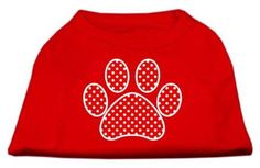 Mirage cat Products Red Swiss Dot Paw Screen Print Shirt Red XXXL (20) -- You will love this! More info here : Cat Apparel