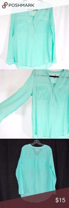 Mint Green Gauze Tunic Light / mint green. Long sleeves that you can roll / cuff. 3 button tunic with pockets on the front.  Lightweight, semi sheer gauzy tunic. Adorable over skinnies!  100% Cotton. Great condition - worn/washed once. Old Navy Tops Tunics