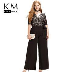 $32.98 - Awesome Kissmilk Women Plus Size Clothing Casual Black Surplice Wrap Lace Patchwork Jumpsuits Rompers Pants  Big Size Wide Leg Pants - Buy it Now!