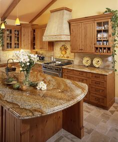 the best color granite countertop for honey oak cabinets | honey