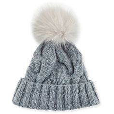 Loro Piana Cable-Knit Fur Pom-Pom Hat (€440) ❤ liked on Polyvore featuring accessories, hats, fur pom-pom hats, red fox hat, cable knit hat, fur beanie hat and red hat