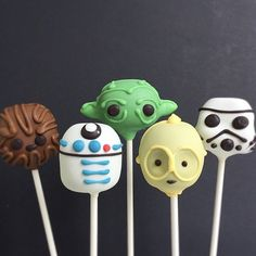 Adorable & not so complicated Star Wars Cake Pop Characters Love them!! Also do Vader, Leia, boba fett, jawas, ewoks, and Death Star!