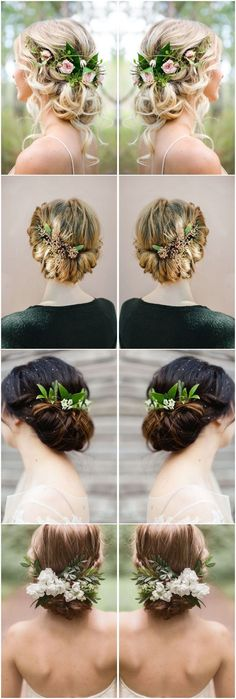 Wedding Hairstyles » 18 Wedding Updo Hairstyles with Greenery Decorations  »  ❤️ See more: http://www.weddinginclude.com/2017/03/wedding-updo-hairstyles-with-greenery-decorations/