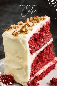Red Velvet Layer Cake Recipe this classic cake is moist buttery tender & boldly red. This dessert is perfect for any occasion. Red Velvet Layer Cake Recipe this classic cake is moist buttery tender & boldly red. This dessert is perfect for any occasion. Strawberry Mousse, Strawberry Red Velvet Cake Recipe, Lemond Curd, Valentine Desserts, Low Carb Cheesecake, Dessert Recipes, Dessert Ideas, Cupcake Recipes, Drink Recipes