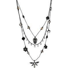 Betsey Johnson Blackout Dragon Fly Skull Illusion Necklace ($45) ❤ liked on Polyvore featuring jewelry, necklaces, accessories, colares, black, cold weather, new arrivals, layered bead necklace, betsey johnson necklace and flower necklace