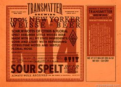 mybeerbuzz.com - Bringing Good Beers & Good People Together...: Transmitter Breing - NY4 100% New Yorker Weisse Be...