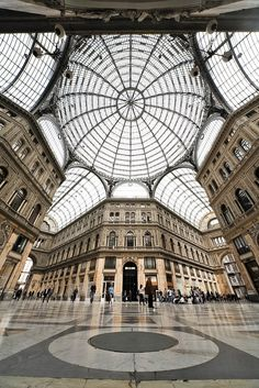 The Galleria Vittorio Emanuele II in Naples #Italy | Get travel tips for this place -> www.gadders.eu/destination/place/Naples