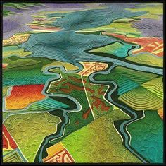 Aerial landscape quilt by Linda Gass