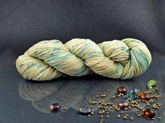 Desert Grass - Hand Dyed Yarn, Merino Superwash, Nylon in Ecru and Turquoise, Hand Dyed Sport Yarn by AspenYarnDyeing on Etsy
