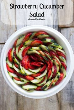 Strawberry Cucumber Salad by ohsweetbasil: Made with a light honey balsamic dressing. #Salad #Strawberry #Cucumber #Honey #Balsamic