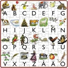 My first Swedish alphabet puzzle - 56 pieces from Elsa Beskow's book Do you want to read. Perfect for children that starting to learn the alphabet.