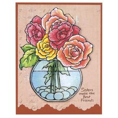Stampendous Build a Bouquet Cling Rubber Stamp Set and Cutting Dies, Sisters Perfectly Clear Stamps Set.