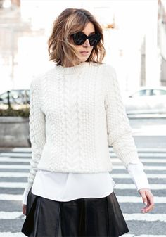 cream knit sweater | The Chronicles Of Her