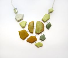 Yellow statement necklace: modern jewelry with a geometric edge featuring genuine gemstones & sterling silver. Chrysoprase and green quartz.