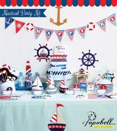 Nautical Party Kit. Complete Set Party Printables. DIY por Popobell, $30.00