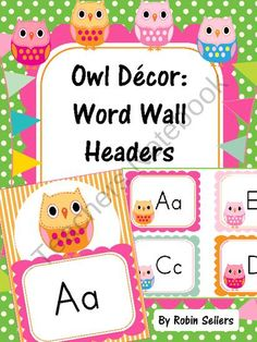 Create an A to Z Word Wall with these Owl Themed Word Wall Headers. This set includes full size owl classroom decor posters from A to Z and smaller word wall labels using an owl theme from A to Z.