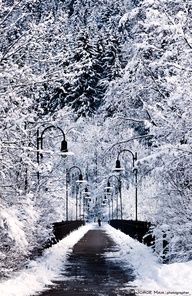 Snowy bridge,Fussen, Germany
