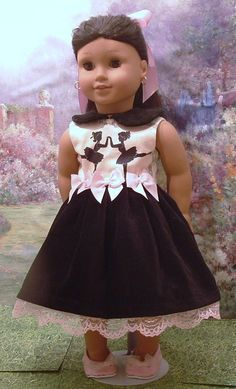 Beautiful special occasion dress for your American girl doll. Dressi smade from a lovely cotton with little ballerinas, and black velveteen.