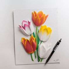 Done  #flower #flowers #tulips #vintage #spring #paperart #paper #handmade #papercraft #art #papercut #papercutting #artist #design #illustration #diy #paperwork #artwork #handcut #instaart #gift #crafts #papercrafts #paperartist #cutout #creative #decor #beautiful #color #wallart