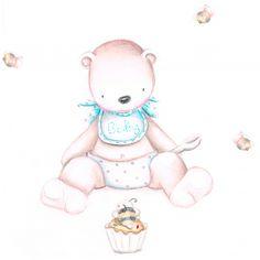 Decoración infantil Il Mondo di Alex, Vinilos - Stickers efecto pintado a mano, OSO ABEJAS... personalizado con nombre y a medida.