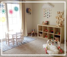 New Baby New Routines Kiddos Montessori Playroom Montessori Baby, Playroom Montessori, Waldorf Playroom, Baby Playroom, Playroom Ideas, Kid Spaces, Creative Kids, Kids Bedroom, Baby Room