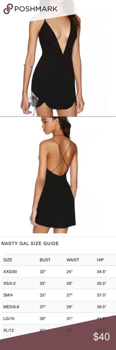 Nasty Gal Black Mini Dress New with Tags  Nasty Gal Black Mini Dress in XS  Size zipper closure  Deep v  Sexy and flirty perfect LBD Nasty Gal Dresses Mini