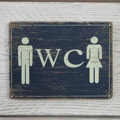 Shabby Rustic Chic Beach Blue Wooden Plaque Ladies & Gents WC Toilet Loo Sign