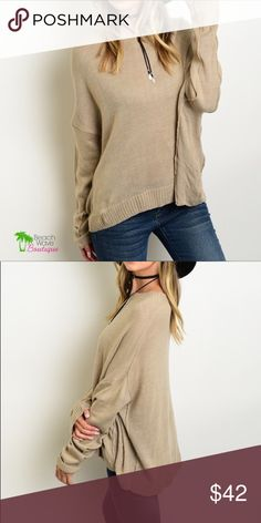 """Khaki Boyfriend Pullover Sweater Boyfriend style fit long sleeve knit sweater. One size fits most. 📌ALSO AVAILABLE IN WINE - Black is sold out  **** This listing is for Khaki  🌺100% Acrylic 🌺 Measurements:        Bust: 36""""        Length: 24"""" Beach Wave Sweaters"""