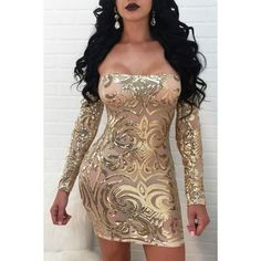 Apricot Off Shoulder Sparkle Sequined See Through Sexy Bodycon Club... ($34) ❤ liked on Polyvore featuring dresses, long cocktail dresses, off-shoulder dresses, sexy bodycon dresses, long bodycon dress and sequin bodycon dress