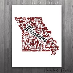 Springfield Missouri Landmark State Giclée Print by PaintedPost, $15.00 #paintedpoststudio - Missouri State University - Bears and Lady Bears. What a great gift Idea! Perfect dorm decor!